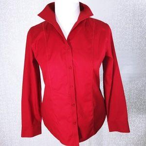 3/$25 Chicos No Iron Dark Red Button Up Sz 1 (M/8)